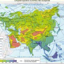 Среднегодовое количество осадков Евразия