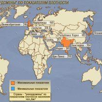 Страны с максимальной плотностью населения
